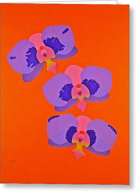 Greeting Card featuring the mixed media Three Orchids by Michele Myers