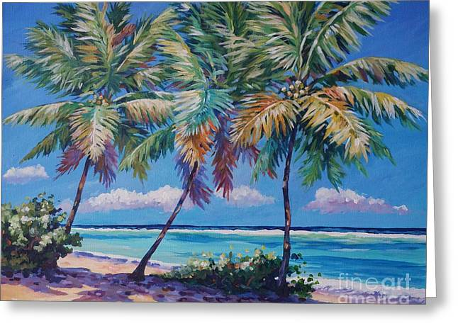 Three Palms- East End Greeting Card by John Clark
