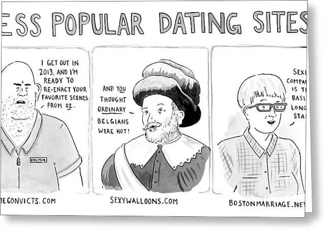 Three Panel Cartoon Of Online Dating Profiles Greeting Card