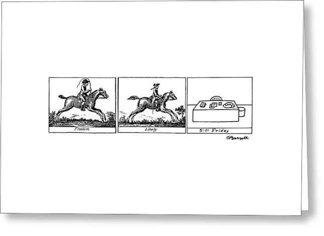Three Panels Greeting Card by Charles Barsotti