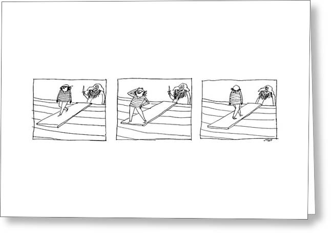 Three Panels Depicting A Sailor Walking The Plank Greeting Card