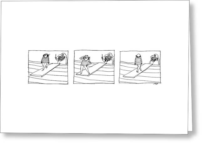 Three Panels Depicting A Sailor Walking The Plank Greeting Card by Edward Steed