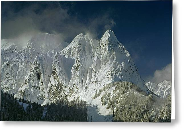 1m4503-three Peaks Of Mt. Index Greeting Card
