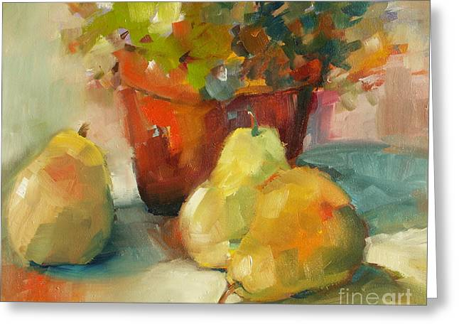 Greeting Card featuring the painting Three Pears And A Pot by Michelle Abrams