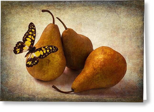 Three Pears And Butterfly Greeting Card by Garry Gay