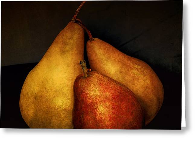 Three Pears Greeting Card by Julie Palencia