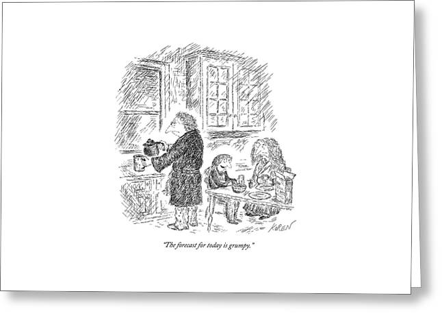 Three People Eat Breakfast In Their Kitchen Greeting Card by Edward Koren