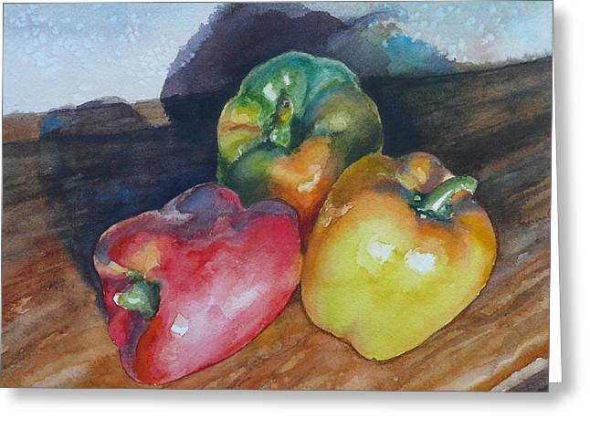 Three Peppers Greeting Card by Anne Gifford