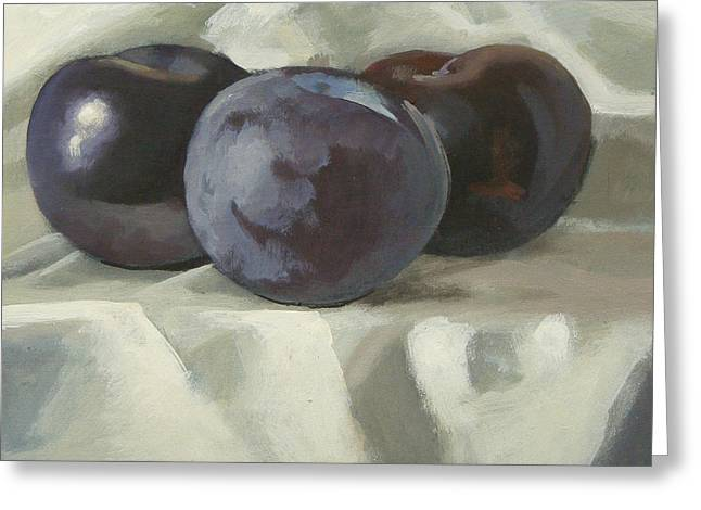 Three Plums Greeting Card by Peter Orrock
