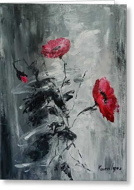 Three Poppies Greeting Card by Maria Karalyos