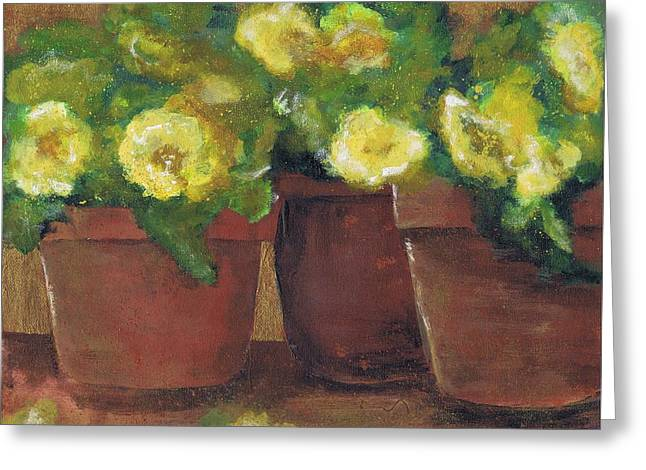 Three Pots Greeting Card by Marilyn Barton