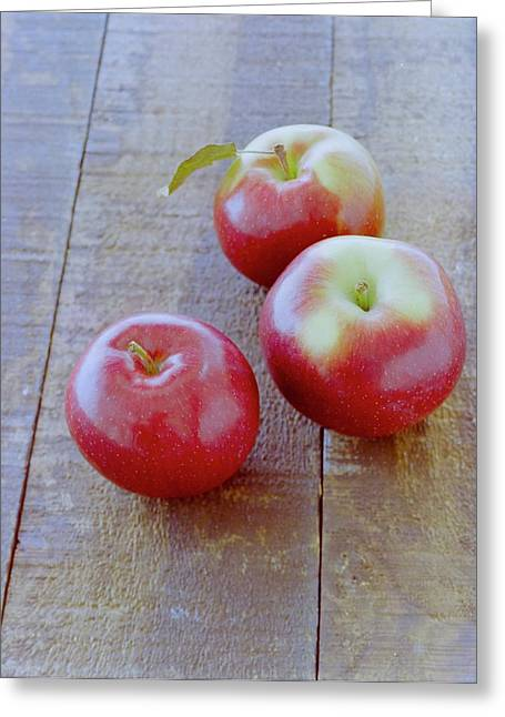 Three Red Apples Greeting Card