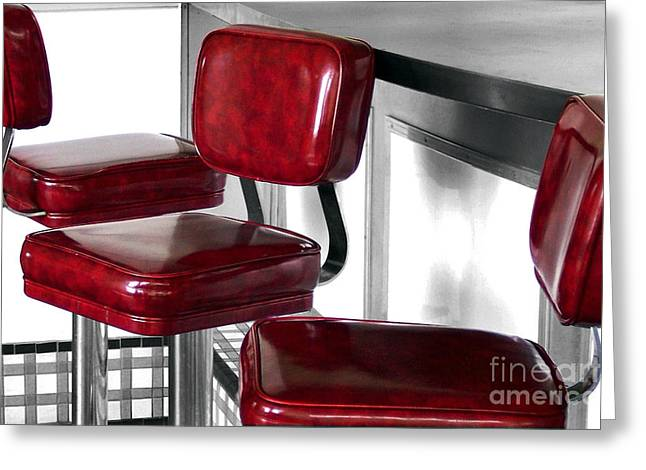 Three Red Stools Greeting Card by Dan Holm