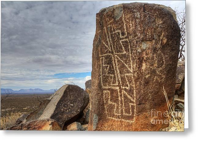 Three Rivers Petroglyphs 4 Greeting Card by Bob Christopher