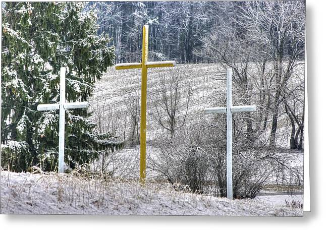 Three Roadside Crosses - Mount Airy Md Winter Greeting Card by Michael Mazaika