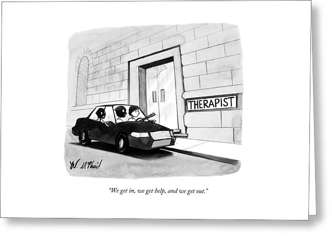 Three Robbers Sit In A Car Outside A Building Greeting Card