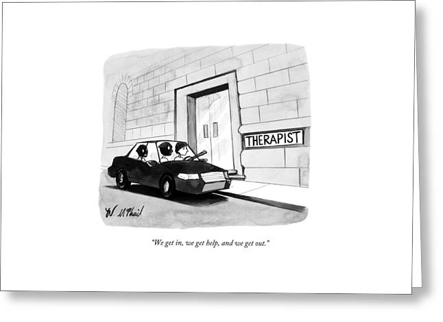 Three Robbers Sit In A Car Outside A Building Greeting Card by Will McPhail