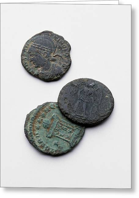 Three Roman Coins Greeting Card