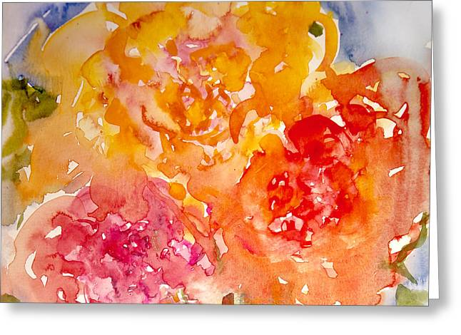 Greeting Card featuring the painting Three Roses by Linde Townsend