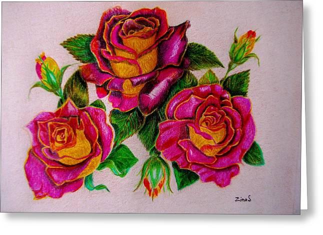 Three Roses Greeting Card by Zina Stromberg
