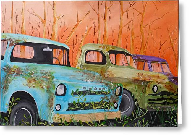 Three Rusty Trucks Greeting Card by Isaac Alcantar