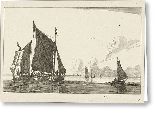 Three Sailboats In Calm Water, Print Maker Anonymous Greeting Card