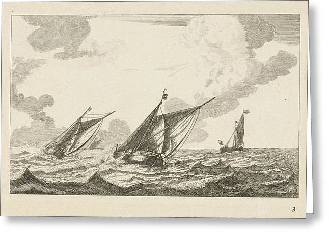 Three Sailboats On A Rough Sea, Anonymous Greeting Card