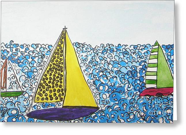 Three Sails Greeting Card by Marcia Weller-Wenbert