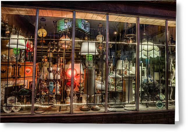 Three Shade Lamp Store Greeting Card by Mark Goodman