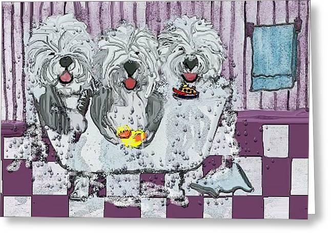 Three Sheepdogs In A Tub Greeting Card