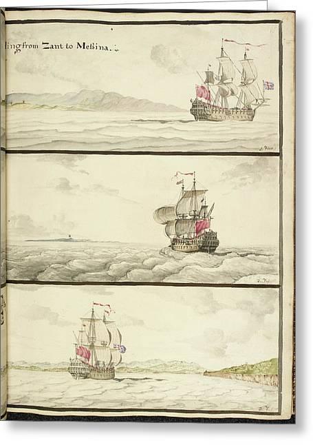Three Ships Under Full Sail Greeting Card