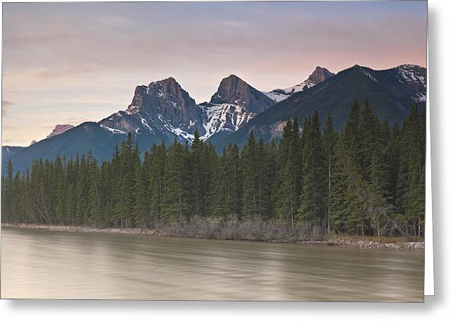 Three Sisters And Bow River Canmore Greeting Card by Richard Berry
