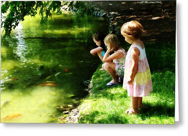 Three Sisters Watching Koi Greeting Card