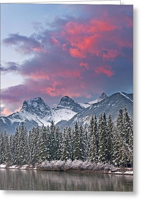 Three Sisters Winter Sunrise Greeting Card by Richard Berry