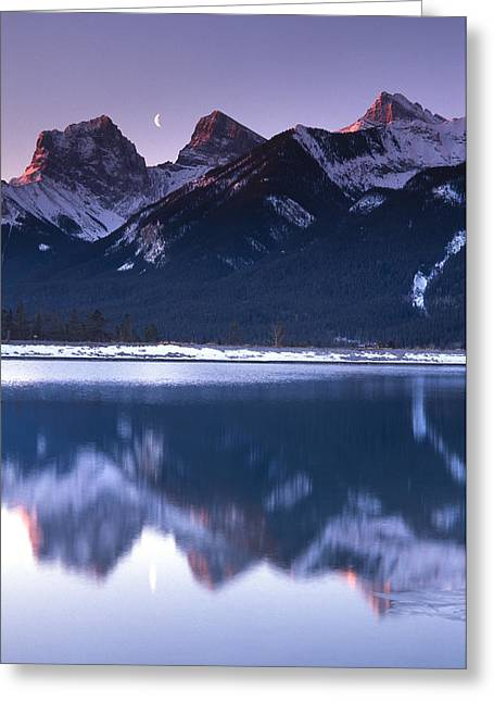 Three Sisters With Crescent Moon Greeting Card by Richard Berry