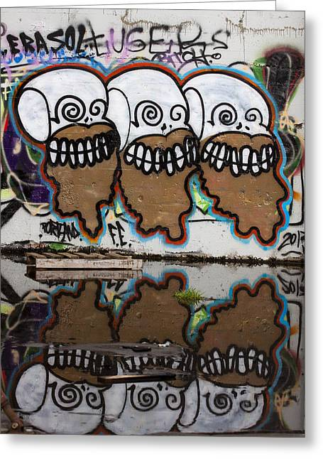 Three Skulls Graffiti Greeting Card by Carol Leigh