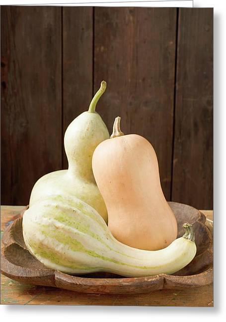 Three Squashes In Bowl In Front Of Wooden Wall Greeting Card