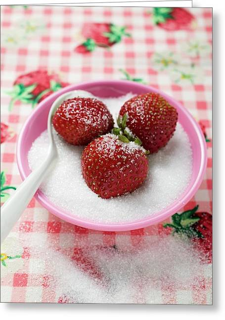 Three Strawberries In A Small Dish Of Sugar Greeting Card
