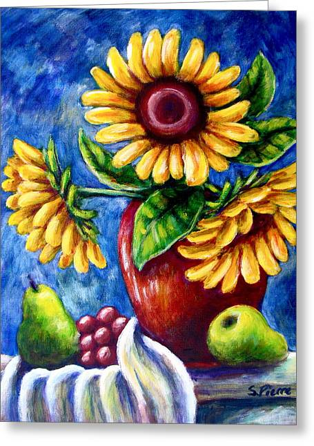 Three Sunflowers And A Pear Greeting Card