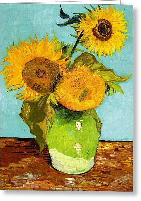 Three Sunflowers In A Vase Greeting Card by Vincent Van Gogh