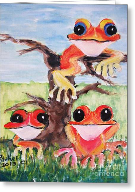 Three Tee Frogs Greeting Card