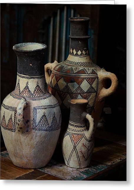 Three Terracotta Vases Greeting Card by Lorenzo Williams