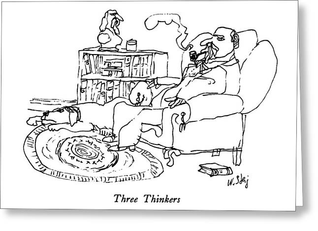 Three Thinkers Greeting Card by William Steig