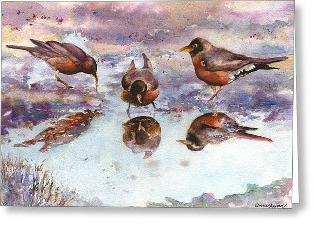 Three Thirsty Robins Greeting Card by Anne Gifford
