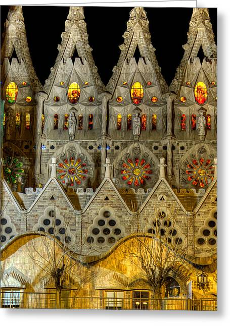 Three Tiers - Sagrada Familia At Night - Gaudi Greeting Card