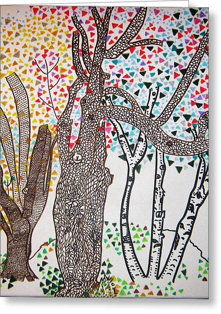 Three Trees Tree Squared Tree Cubed Tree Four Greeting Card by Lois Picasso