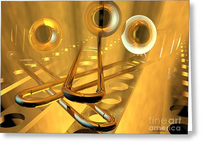 Three Trombones Greeting Card by R Muirhead Art