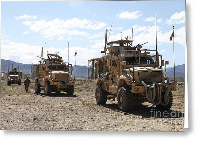 Three U.s. Army Mine Resistant Ambush Greeting Card by Stocktrek Images