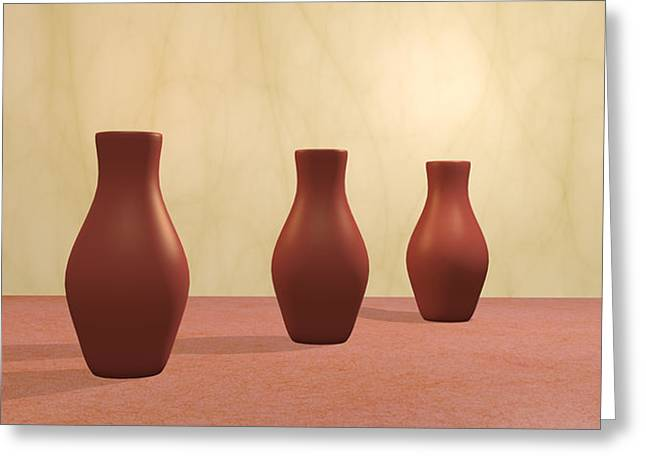 Greeting Card featuring the digital art Three Vases by Gabiw Art