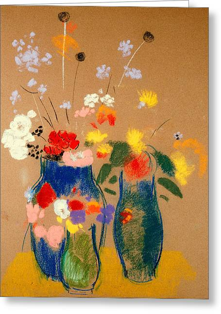 Three Vases Of Flowers Greeting Card